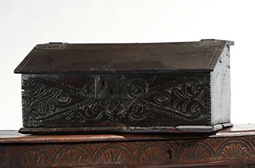 7: CHARLES II CARVED OAK LAP DESK Ca. 1680 Th