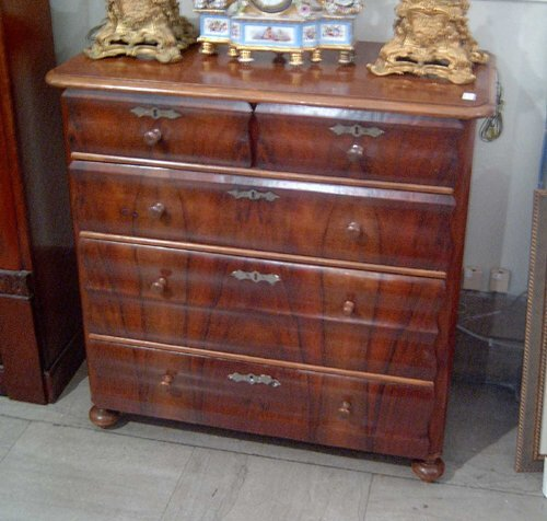 9: FRENCH WALNUT COMMODE Ca. 1860 With two sh