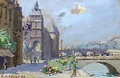 12: Fr. gouache by R Giroust, , street scene by the riv