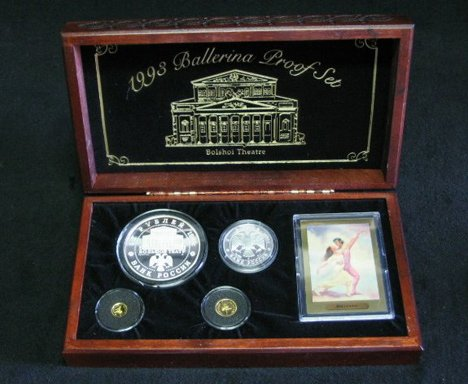 1001: Russian ballerina coin set, , 4 coins, boxed.