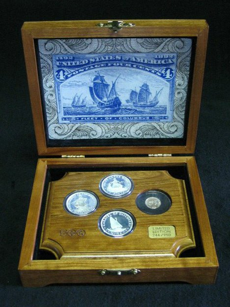 1003: Fleet of Columbus proof set, , 4 coins, boxed