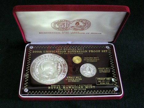 1006: Hawaiian proof coin set, , 3 coins, boxed