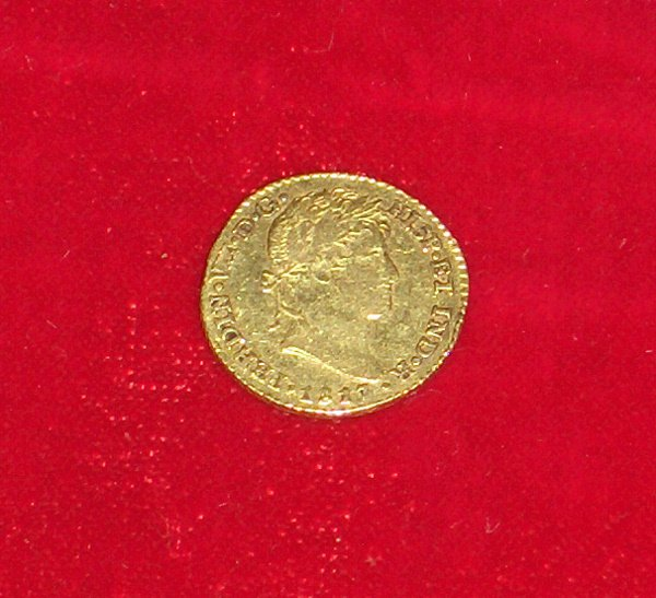 1010: Spanish gold coin, one escudo, , 1817, Ferdinand
