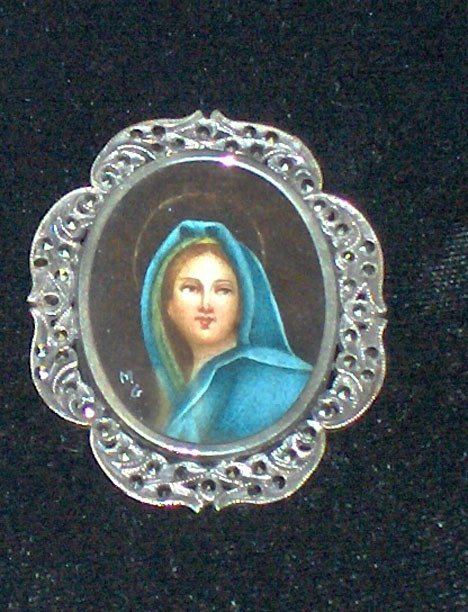 1015: Austrian silver, marcasite and miniature portrait