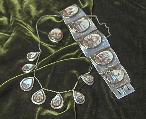 1019: Indian silver miniature painting parure, , Includ