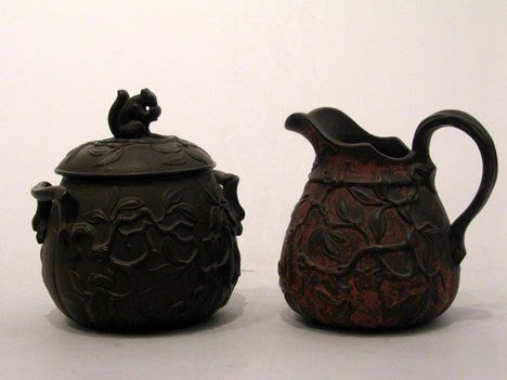 3: Continental terracotta creamer and covered sugar bow