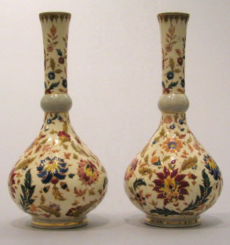 5: A pair of Fisher pottery bud vases, 20th century, Ea