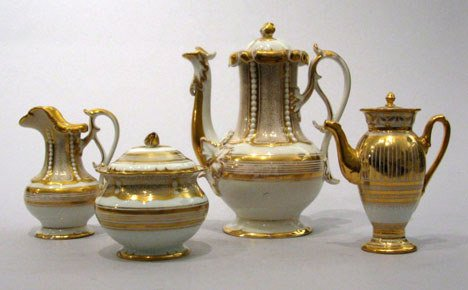 6: Assembled German porcelain three piece coffee servic