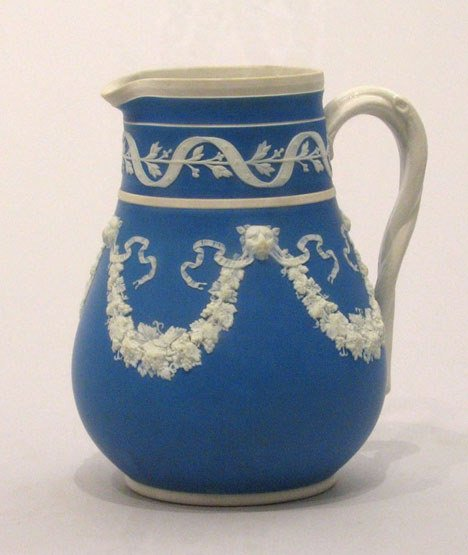 7: A Wedgwood jasperware milk jug, 19th century, The ov
