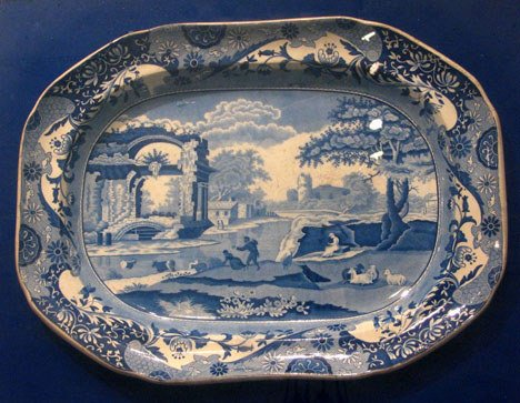 "9: Spode Blue Italian"" transfer ware platter, early 19t"