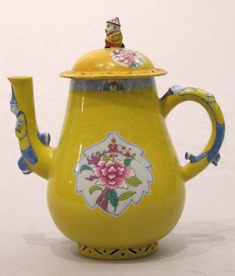 12: A herend yellow ground porcelain teapot, 20th centu