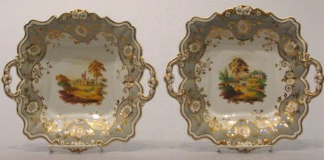 20: A Pair of English Porcelain Two-Handled Square Plat