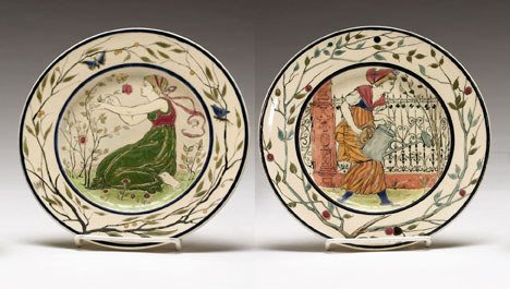 76: A pair of Zsolnay pottery plates, circa 1900, The c