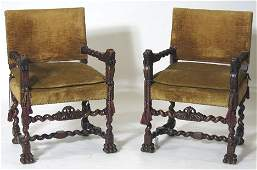 385 Pair of 17th century style carved walnut armchairs