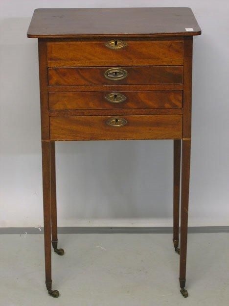1005: George III mahogany work table, circa 1800, Inlai
