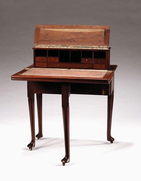 1010: Rare George II mahogany combined tea, game & writ