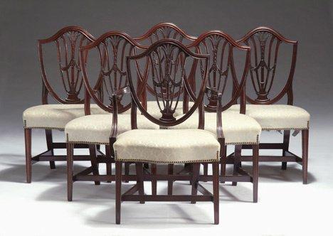 1013: Set of six shield back dining chairs, circa 1780
