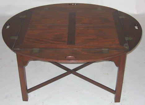 1014: Regency mahogany butler's tray on later stand, ea