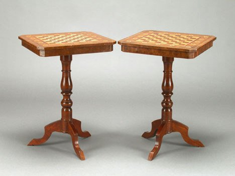 1002: Pair of Italian walnut and parquetry tripod table