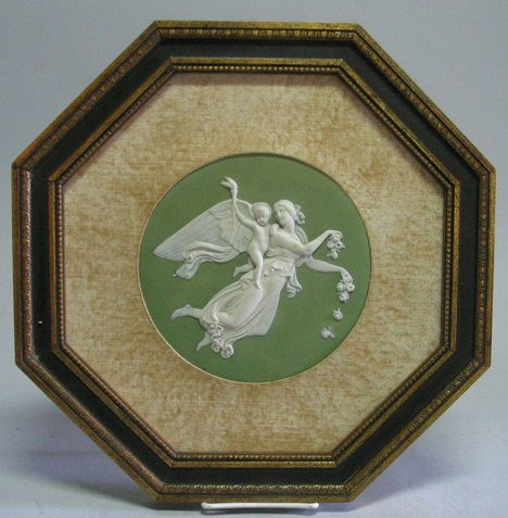 21008: Green Jasperware plaque, possibly wedgwood, late