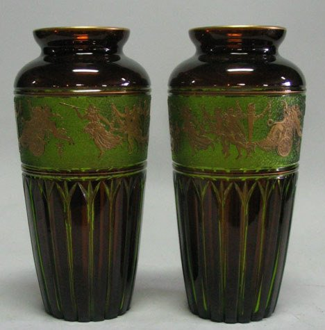 21013: Pair of Continental amber glass vases, circa 190