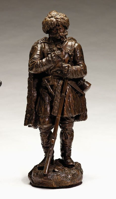 21154: Russian bronze, standing cossack with rifle
