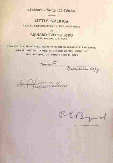 3467: 1 vol. Byrd, Richard Evelyn. Little America. New