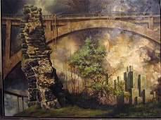4195: PAUL GORKA (american b 1931) LANDSCAPE WITH BRIDG