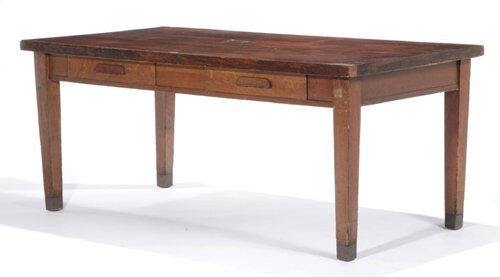 3: OAK TWO-DRAWER OFFICE TABLE USED BY HENRY