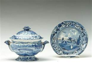 TWO PIECES OF HISTORIC BLUE STAFFORDSHIRE