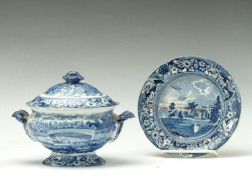 9: TWO PIECES OF HISTORIC BLUE STAFFORDSHIRE