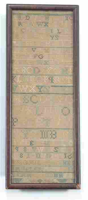 NEEDLEWORKED BAND SAMPLER Dated 1753 Th