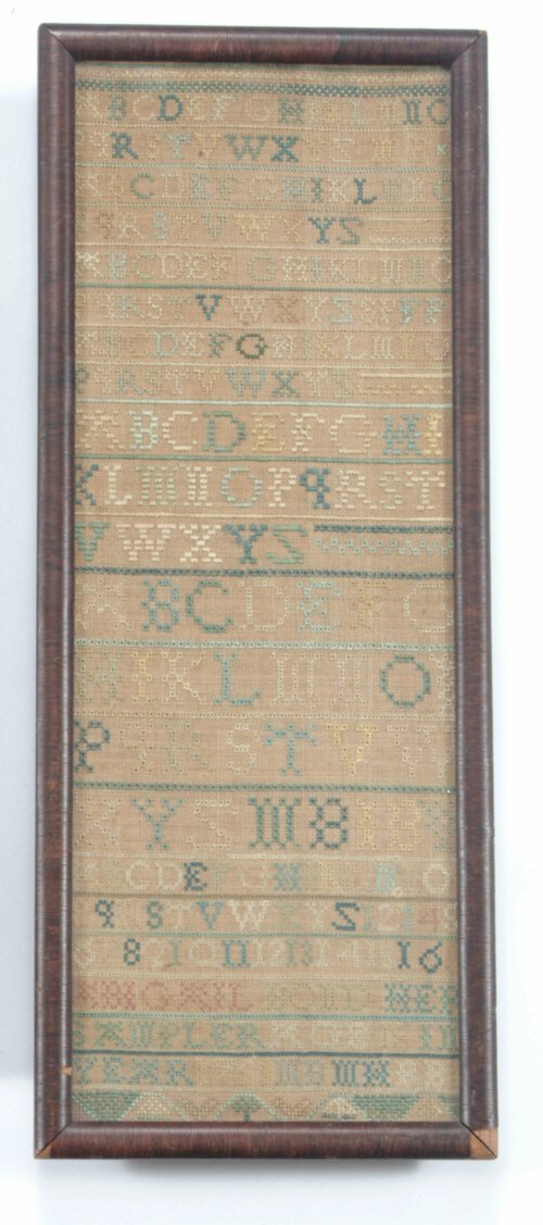 13: NEEDLEWORKED BAND SAMPLER  Dated 1753  Th