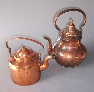 TWO COPPER TEAKETTLES England and Conten