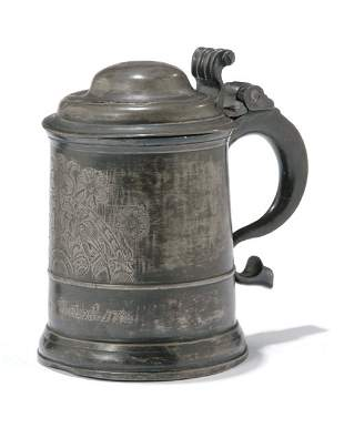 ENGRAVED PEWTER TANKARD Dated 1755 The