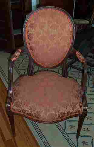 MAHOGANY AND UPHOLSTERED OPEN ARMCHAIR E