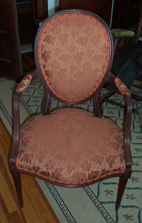 504: MAHOGANY AND UPHOLSTERED OPEN ARMCHAIR E