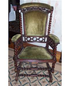 505: VICTORIAN CARVED WALNUT AND UPHOLSTERED