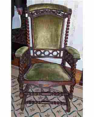 VICTORIAN CARVED WALNUT AND UPHOLSTERED
