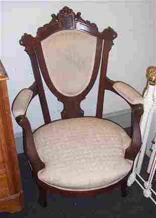 PAIR OF VICTORIAN WALNIT OPEN ARMCHAIRS