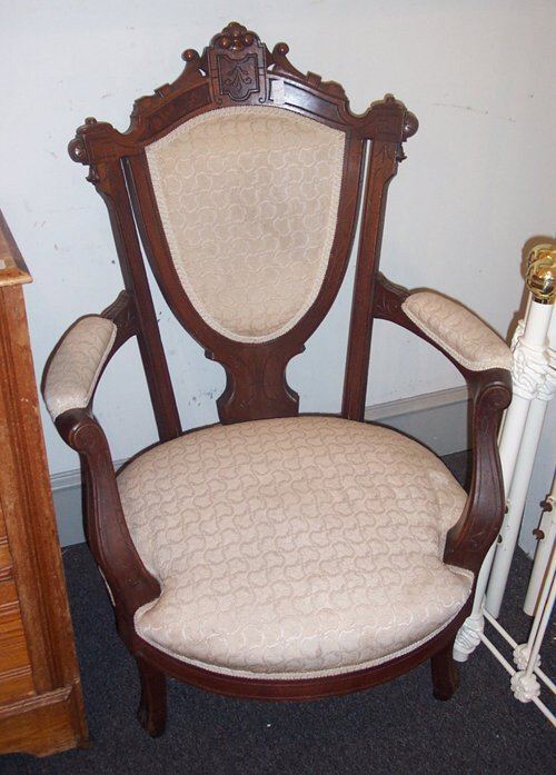 505A: PAIR OF VICTORIAN WALNIT OPEN ARMCHAIRS