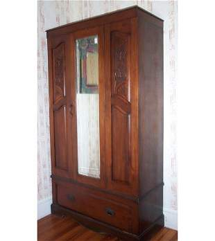 VICTORIAN WALNUT ARMOIRE C 1890 With one