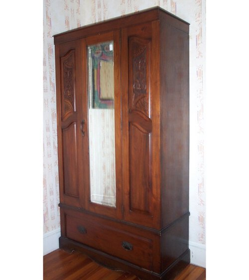 506: VICTORIAN WALNUT ARMOIRE C 1890 With one