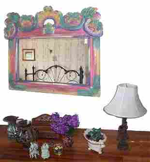 ASSORTED CHINA AND PAINTED PINE MIRROR I