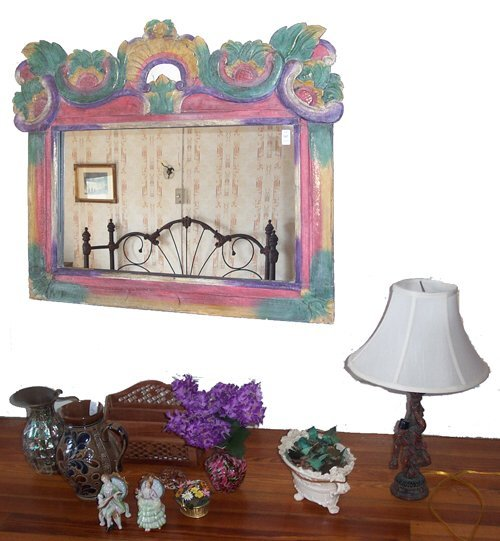 507: ASSORTED CHINA AND PAINTED PINE MIRROR I