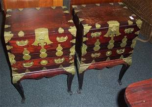 PAIR OF ASIAN ELM AND BRASS-BOUND CABIN
