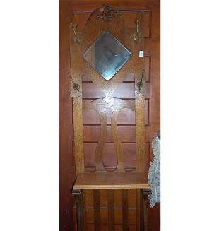 VICTORIAN OAK HALL STAND Late 19th c. Th