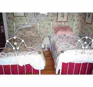 PAIR OF VICTORIAN STYLE WROUGHT IRON AND