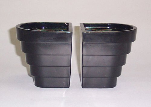19: PAIR OF ART DECO BLACK GLASS VASES  Stive