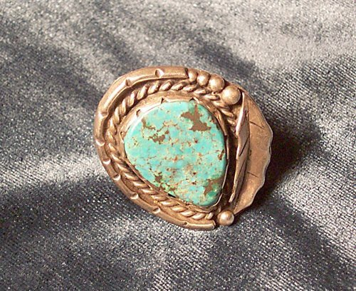 1: SOUTHWEST INDIAN SILVER & TURQUOISE RING
